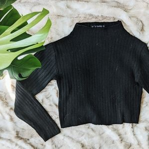 Mock Neck Crop Ribbed Sweater